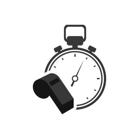 chronometer whistle healthy lifestyle fitness silhouette icon. Flat and Isolated design. Vector illustration