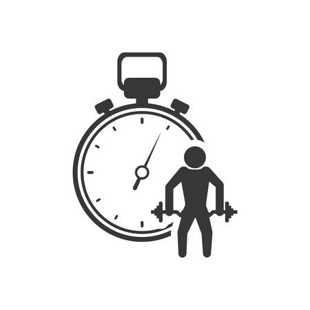 chronometer: weight lifting chronometer healthy lifestyle fitness silhouette icon. Flat and Isolated design. Vector illustration