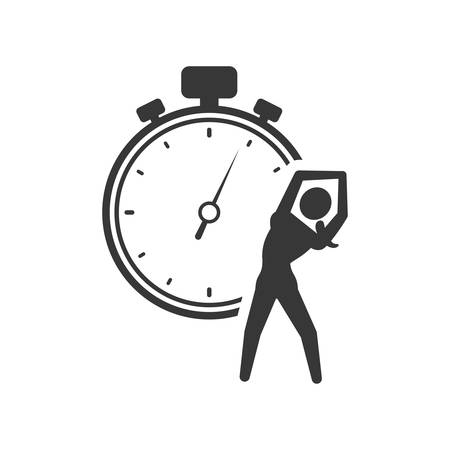 chronometer: chronometer stretching person healthy lifestyle fitness silhouette icon. Flat and Isolated design. Vector illustration