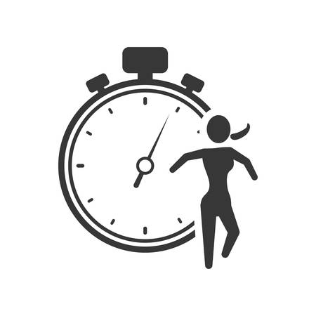 chronometer: running chronometer healthy lifestyle fitness silhouette icon. Flat and Isolated design. Vector illustration