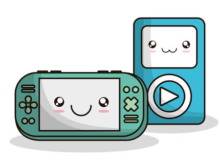 videogame: mp3 videogame control kawaii cartoon smiling technology icon. Colorful and flat design. Vector illustration
