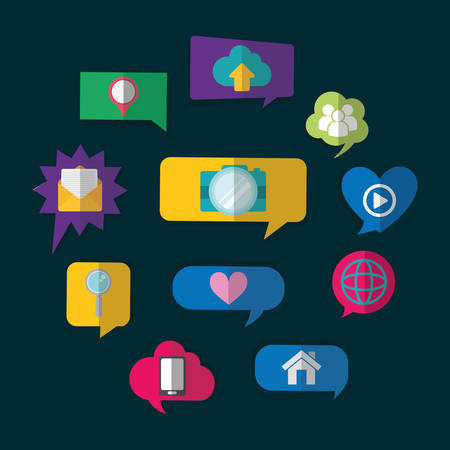 media network: bubbles camera heart house cloud email lupe social network communication media con. Colorful and flat design. Vector illustration Illustration