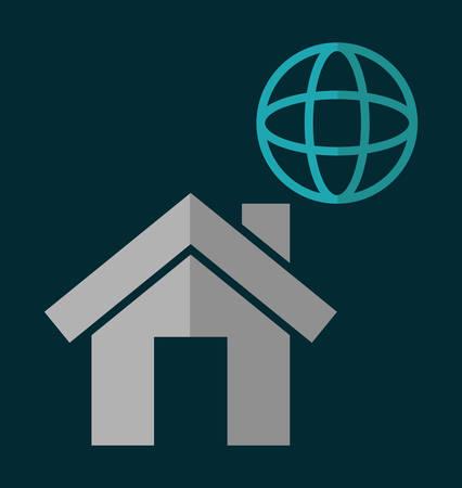 media network: global house home social network communication media con. Colorful and flat design. Vector illustration Illustration