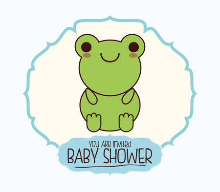 baby seal: toad kawaii cartoon smiling baby shower icon. Colorful and seal stamp design. Vector illustration