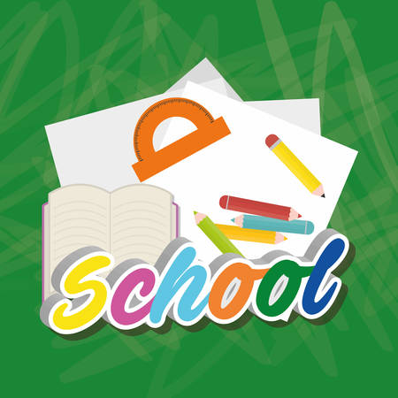 shool: colors paper book back to shool education  icon set. Colorful and grunge design. Vector illustration