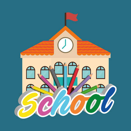 shool: building colors back to shool education  icon set. Colorful and flat design. Vector illustration