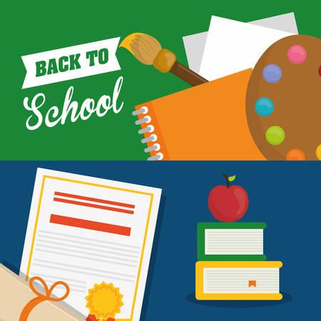 shool: books apple diploma back to shool education icon set. Colorful and flat design. Vector illustration Illustration