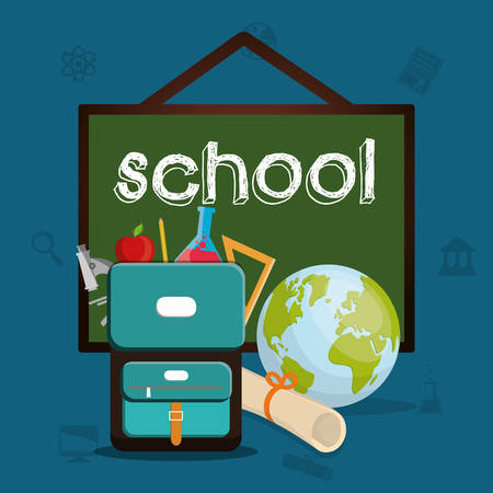 shool: bag planet diploma back to shool education  icon set. Colorful and flat design. Vector illustration