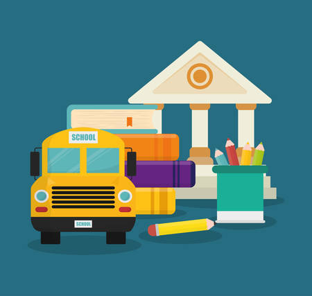 shool: building bus book colors back to shool education  icon set. Colorful and flat design. Vector illustration Illustration