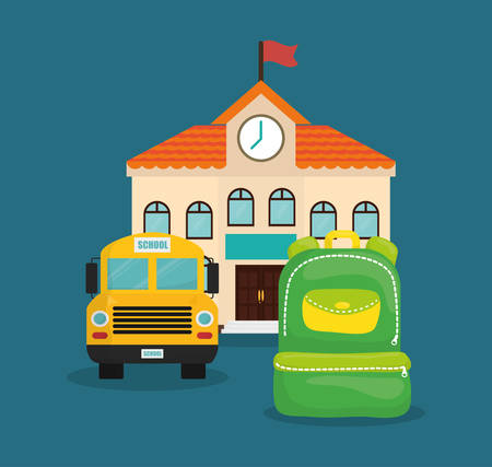 shool: bag building bus back to shool education  icon set. Colorful and flat design. Vector illustration