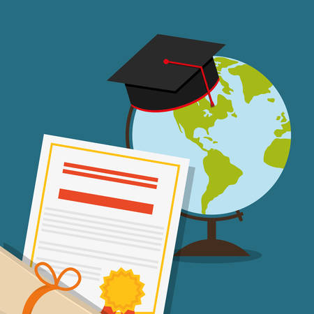 shool: graduation cap planet sphere diploma back to shool education  icon set. Colorful and flat design. Vector illustration