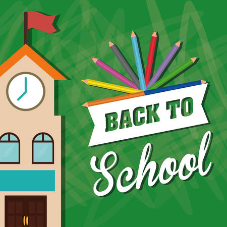 shool: colors building back to shool education  icon set. Colorful and grunge design. Vector illustration
