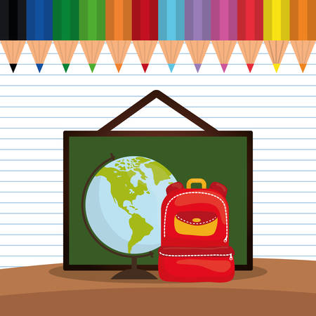 shool: bag board planet colors back to shool education  icon set. Colorful and flat design. Vector illustration