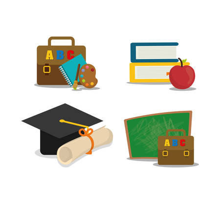shool: graduation cap suitcase books apple back to shool education  icon set. Colorful and flat design. Vector illustration