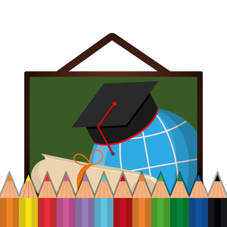 shool: graduation cap global colors back to shool education  icon set. Colorful and flat design. Vector illustration