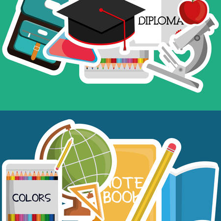 shool: graduation cap planet sphere diploma colors pencil back to shool education  icon set. Colorful and flat design. Vector illustration
