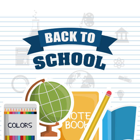 shool: sphere colors books pencil back to shool education icon set. Colorful and flat design. Vector illustration