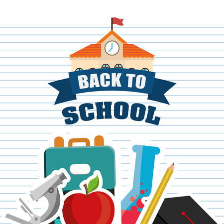 shool: graduation cap building microscope apple pencil back to shool education  icon set. Colorful and flat design. Vector illustration Illustration