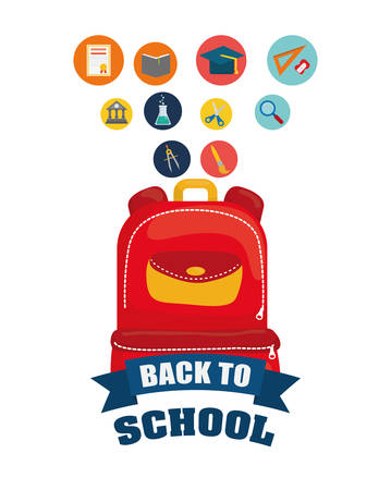 shool: bag lupe flask building cap back to shool education  icon set. Colorful and flat design. Vector illustration