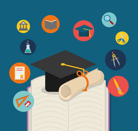 shool: graduation cap diploma book back to shool education  icon set. Colorful and flat design. Vector illustration
