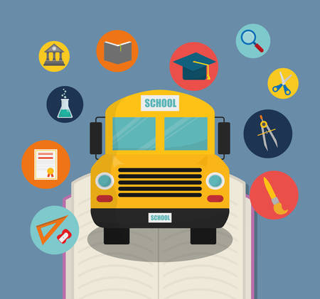 shool: bus yellow back to shool education icon set. Colorful and flat design. Vector illustration