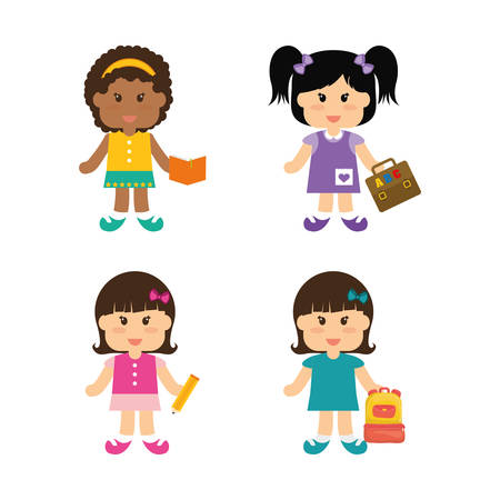 shool: girls bag suitcase pencil book back to shool education icon set. Colorful and flat design. Vector illustration
