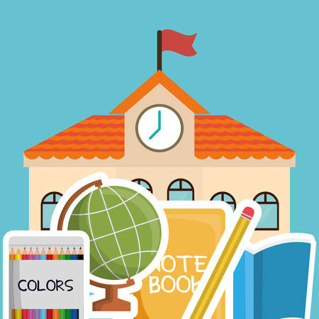 shool: building colors book sphere pencil back to shool education  icon set. Colorful and flat design. Vector illustration Illustration