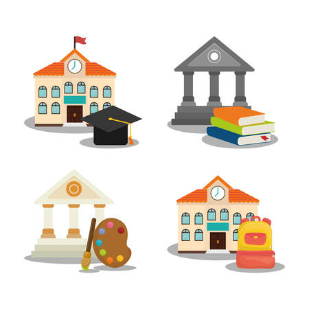 shool: building cap paint bag books back to shool education icon set. Colorful and flat design. Vector illustration Illustration