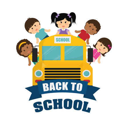 shool: bus yellow kids girls boys back to shool education icon set. Colorful and flat design. Vector illustration