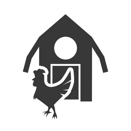 cultivating: chicken farm building silhouette icon. Flat and Isolated design. Vector illustration