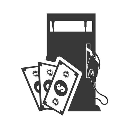 dispenser: bills dispenser petroleum gasoline oil industry silhouette icon. Flat and Isolated design. Vector illustration