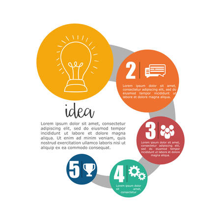 great idea: light bulb big and great idea infographic creativity icon set. Colorful and flat design. Vector illustration