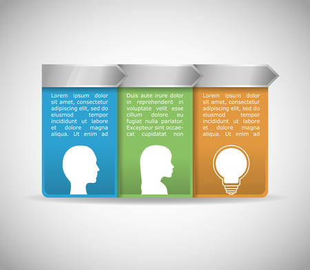 invent clever: light bulb human head big and great idea infographic creativity icon set. Colorful and flat design. Vector illustration