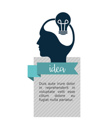 great idea: light bulb human head big and great idea infographic creativity icon set. Colorful and flat design. Vector illustration
