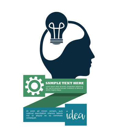 great idea: light bulb gear human head big and great idea infographic creativity icon set. Colorful and flat design. Vector illustration