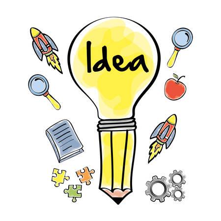 great idea: bulb rocket apple puzzle gear big and great idea creativity icon set. Sketch and draw design. Vector illustration Illustration