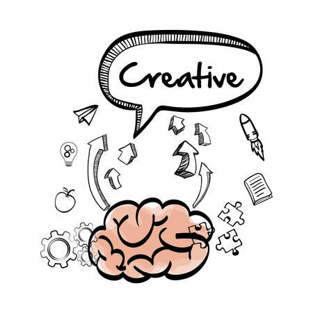 great idea: brain bubble apple puzzle gear big and great idea creativity icon set. Sketch and draw design. Vector illustration Illustration