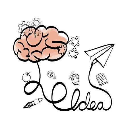 great idea: brain paperplane big and great idea creativity icon set. Sketch and draw design. Vector illustration