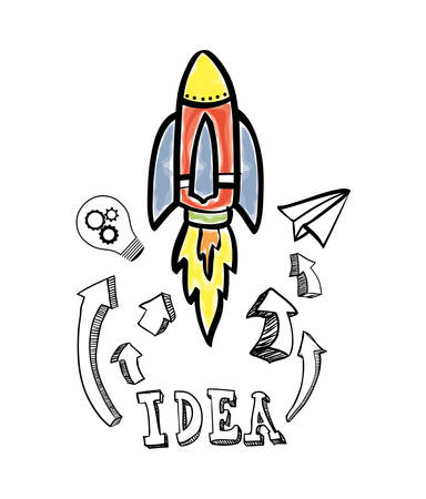 great idea: rocket bulb paperplane big and great idea creativity icon set. Sketch and draw design. Vector illustration