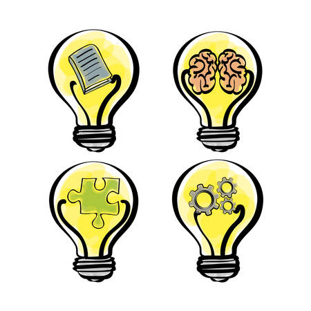 brain puzzle: bulb gears brain puzzle big and great idea creativity icon set. Sketch and draw design. Vector illustration