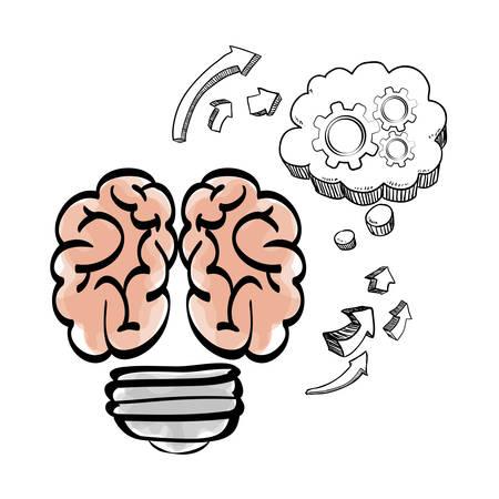 great idea: brain cloud gears arrow big and great idea creativity icon set. Sketch and draw design. Vector illustration Illustration