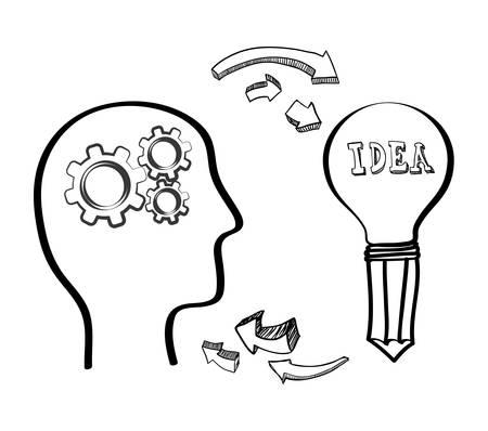 gear head: bulb pencil gear head big and great idea creativity icon set. Sketch and draw design. Vector illustration Illustration