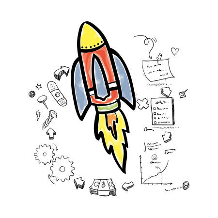 great idea: rocket gears puzzle checklist big and great idea creativity icon set. Sketch and draw design. Vector illustration Illustration