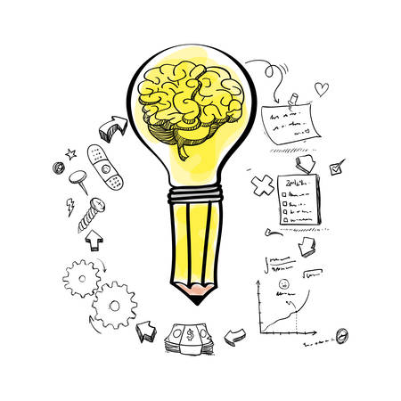 great idea: brain pencil bulb gears paper infographic big and great idea creativity icon set. Sketch and draw design. Vector illustration