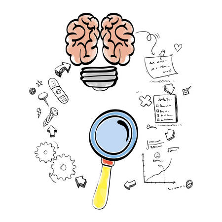 great idea: brain bulb lupe gears paper infographic big and great idea creativity icon set. Sketch and draw design. Vector illustration