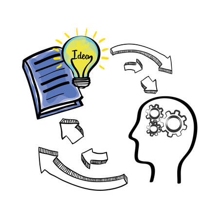 invent clever: bulb gears head book big and great idea creativity icon set. Sketch and draw design. Vector illustration