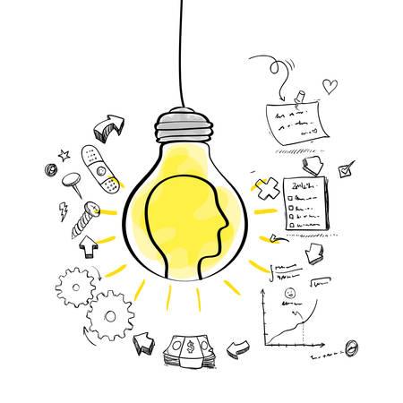 great idea: bulb head bills gears paper big and great idea creativity icon set. Sketch and draw design. Vector illustration