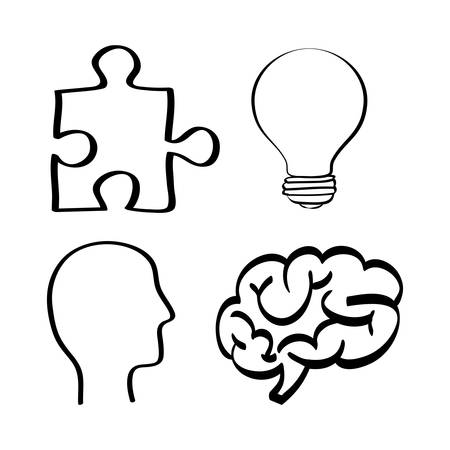 different thinking: brain puzzle bulb head big and great idea creativity icon set. Sketch and draw design. Vector illustration
