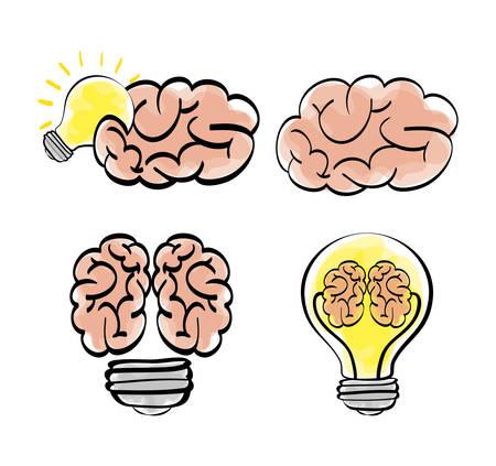 great idea: brain bulb big and great idea creativity icon set. Sketch and draw design. Vector illustration Illustration