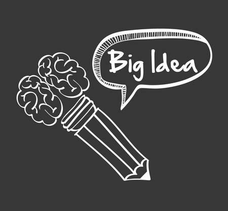 great idea: brain pencil bubble big and great idea creativity icon set. Sketch and draw design. Vector illustration